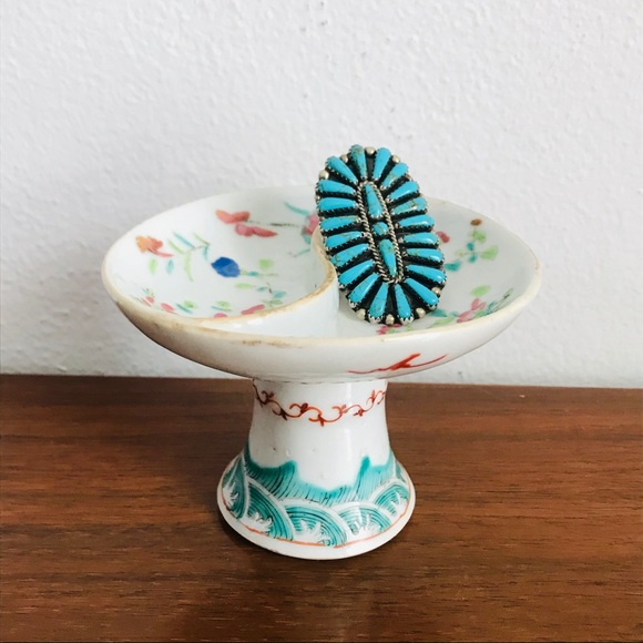 Antique Chinoiserie Yin Yang Divided Pedestal Dish